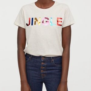 Christmas H&M JINGLE Tee Shirt Size XL